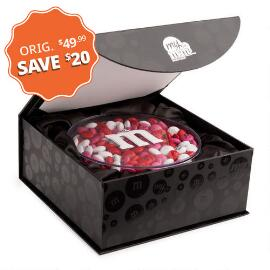 Personalized M&M'S® Round Acrylic in Black Gift Box