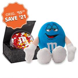 M&M'S® Blue Plush and Signature Black Box with 16oz acrylic dish