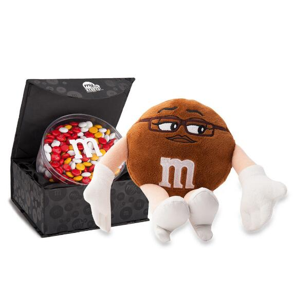 M&M'S® Miss Brown Plush and Signature Black Box with 16oz acrylic dish