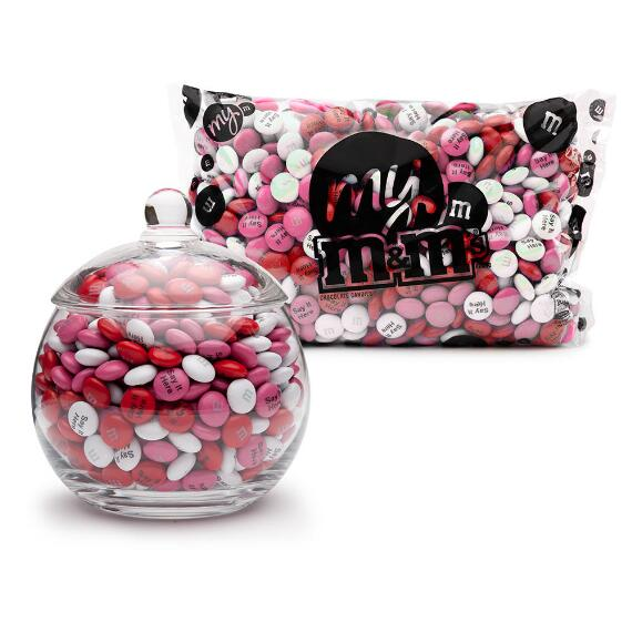 Glass Candy Jar filled with Personalized M&M'S®
