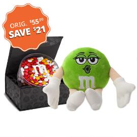 M&M'S® Miss Green Plush and Signature Black Box with 16oz acrylic dish