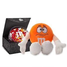 M&M'S® Orange Plush and Signature Black Box with 16oz acrylic dish