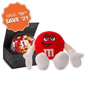 M&M'S® Red Plush and Signature Black Box with 16oz acrylic dish