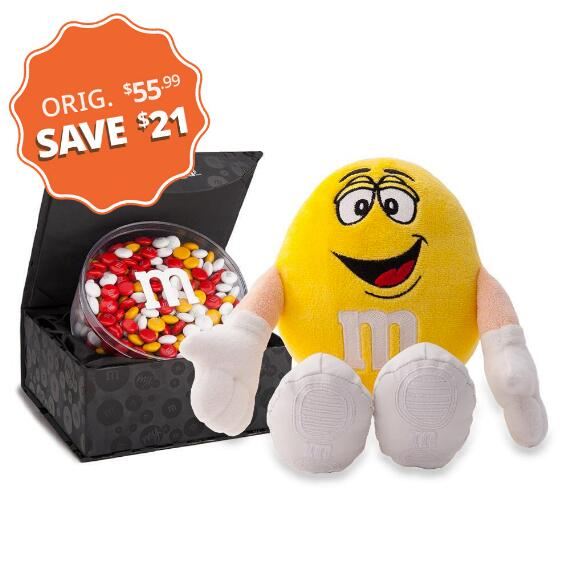 M&M'S® Yellow Plush and Signature Black Box with 16oz acrylic dish