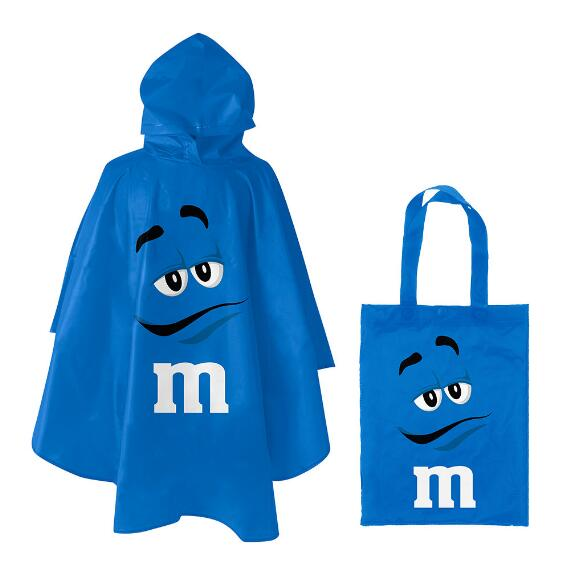 M&M'S® Blue Character Poncho In Blue Character Tote Bag