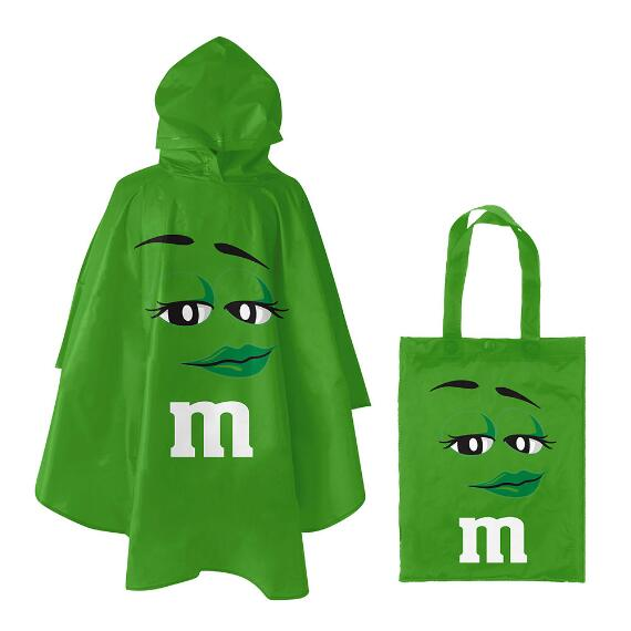 M&M'S® Green Character Poncho In Green Character Tote Bag