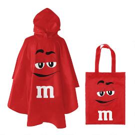 M&M'S® Red Character Poncho In Red Character Tote Bag