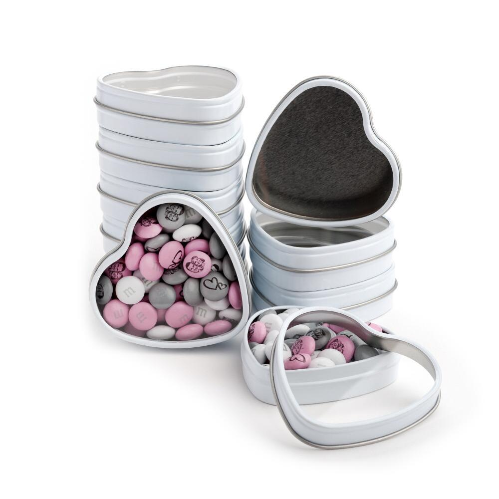 48 White Heart Favor Tins DIY Kit | MyMMS.com from My M&M\'S®