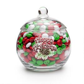 Happy Holidays Candy Jar & Personalized M&M'S®