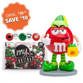 M&M'S® Red Elf Dispenser with 1lb Christmas Blend M&M'S®
