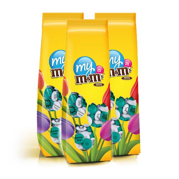 3 Personalized Chocolate Flowers M&M'S® Candy Bags