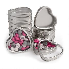 Silver Heart Favor Tins